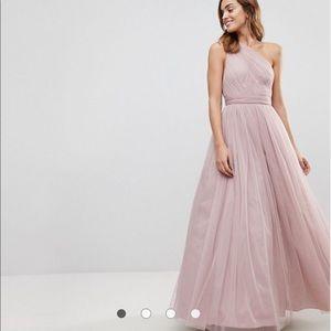 tulle one shoulder maxi dress